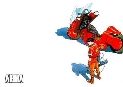 AKIRA - BIKE WHITE - Landscape canvas print - self adhesive poster - photo print